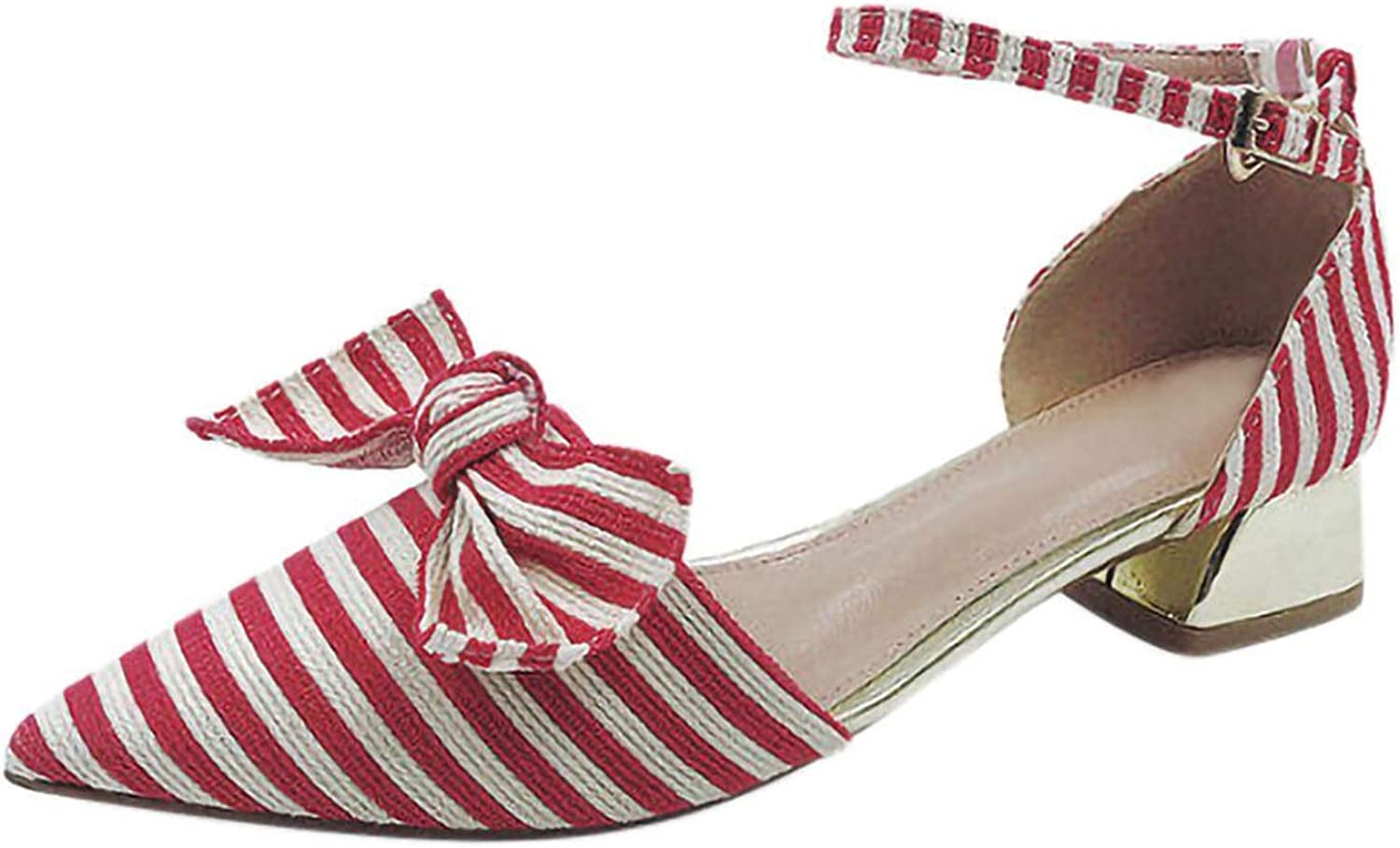 Be fearless Women's Sandals Casual Striped Design Pointed Shallow Mouth shoes Striped Bow Single shoes,Red,6