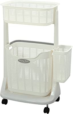 PH-301 ランドリーバスケット(サイドポケット付き) ホワイト 4667n
