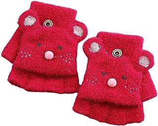 Haoohu Kids' Warm Lined Knit Flip Mittens Fingerless Gloves with Mitten Flap