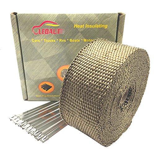 LEDAUT 10m Titan Hitzeschutzband Vulkanischen Gesteinen Basalt Fiber Hitzeschutzband Für Auto Motorrad Auspuff Hitze Wickel(Packung mit 12)