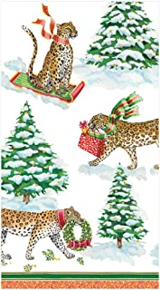 Funny Christmas Hand Towels for Bathroom, Disposable Christmas Bathroom Towels, Paper Hand Towels for Christmas Bathroom Decor Fingertip Towels Leopards in Snow Pk 30
