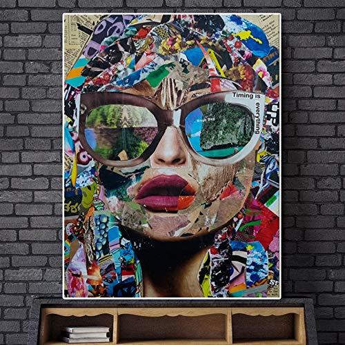 Straße Graffiti abstrakte Wandkunst Leinwand Bild Wandbild Wandbild Wohnzimmer Poster,Rahmenlose Malerei,50x75cm