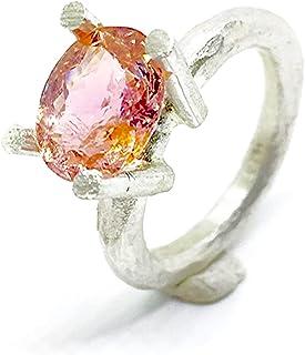 Magnifico anello con spettacolare tormalina ovale rosa/arancione naturale da 2,46 carati (10 mm x 8,2 mm). Anello in argen...