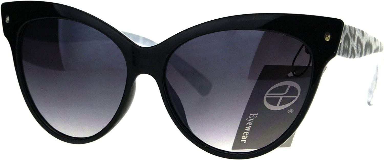 Animal Print Horn Rim Cat Eye Womens Plastic Sunglasses