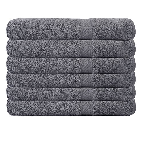 Westward Ho!! - Pack de 6 toallas de baño (70 x 120 cm, 390 g/m², algodón peinado), color gris