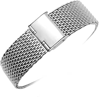 YISUYA 22mm Solid Milanese Mesh Stainless Steel Strap with Hook Buckle Classic Polished Silver/Black Watch Band Straps 2.2cm