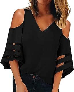 Womens Off Shoulder V Neck Mesh Panel Blouse 3/4 Bell Sleeve Tops Shirts