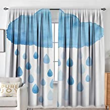 Blackout Curtains for Bedroom Nature,Rain Drops and Cloud in Watercolor Painting Effect Cute Nimbus Fun Art Illustration,Blue White,Darkening and Thermal Insulating Draperies 72