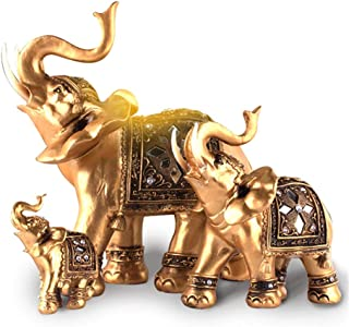 KH Elephant Statues with Trunk Raised Collectible Figurines Home Decor Crafts Golden Elephant Decoration (L)