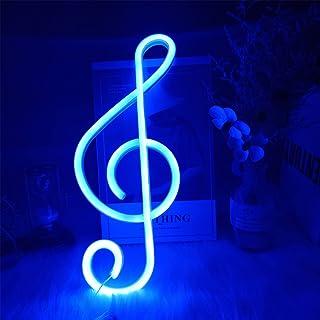 ENUOLI Music Note Note Neon Signes Blue Neon Lumières pour la décoration murale LED Night Lights Batterie ou Néon actionné...