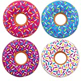 Kicko Inflatable Donut Kids' Pool Float - 4 Pack Multi-Colored 18 Inch Frosted Looking Doughnut Blow-up Swim Tube Toy for Swimming, Floating Summer Beach Games, Party Decoration