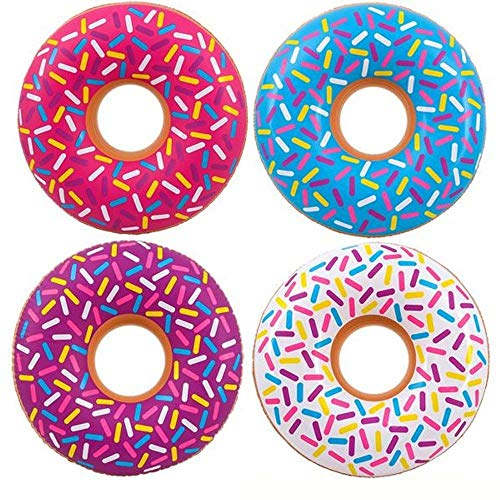 Kicko Inflatable Donut Kids' Pool Float - 4 Pack Multi-Colored 18 Inch Frosted Looking Doughnut Blow-up Swim Tube Toy for Swimming, Floating, Summer Beach Games, Party Decoration