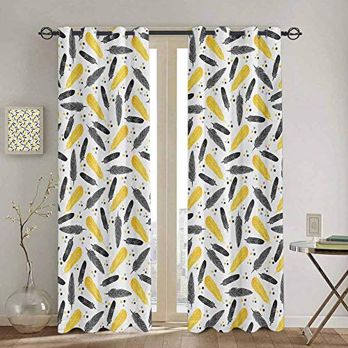 DONEECKL Yellow Black out Window Curtain Bird Feathers Patterns with Polka Dots Exotic Style Tribal Design Animal Print Waterproof Fabric W52 x L95 Inch Yellow Black