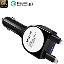 Amuvec Car Charger (6A/40W), 2 USB Port Car Accessories Fast Charge with Retractable Type C(QC3.0)/iP Port 800mm Dual Cable for Phone 6 5 Samsung Galaxy S10+ S9 S8 Google Pixel Xiaomi Huawei and More