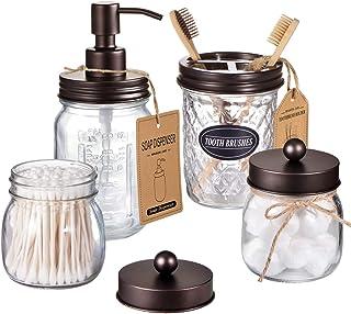 Amolliar Mason Jar Bathroom Accessories Set(4 Pcs) -Lotion Soap Dispenser & 2 Cotton Swab Holder &Toothbrush Holder-Rustic...