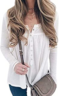 HebeTop Women's Casual Long Sleeve Henley V-Neck Loose Fit Pleated Tunic Shirt Blouse Tops