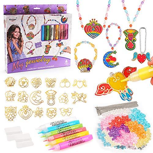 Geburtstagsgeschenk für Kinder Mädchen Alter 4 5 6 7, Schmuckherstellung Kit für 4-8 Jahre alte Mädchen Thanksgiving Geschenk für Teen Halskette Armband Herstellung Set Spielzeug für 5-7 Jahre altes