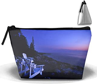 Maine Beach Portable Travel Cosmetic Bags Trapezoidal Clutch Bag with Zipper