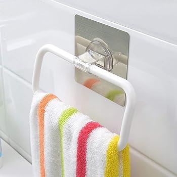 Zollyss Magic Sticker Series Self-Adhesive Plastic Towel Holder Hanger (White) - (Pack of 1)