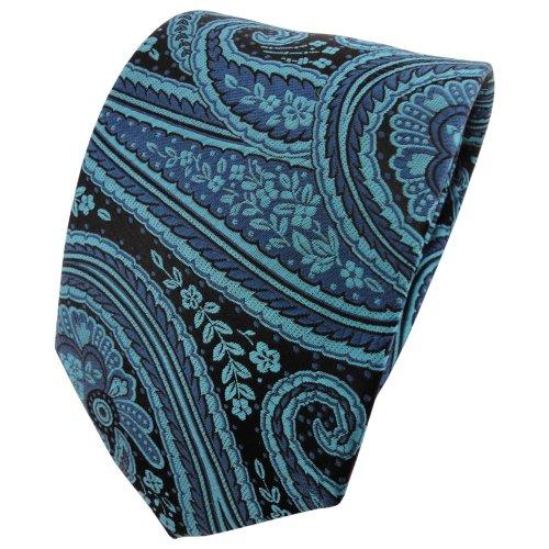 TigerTie Seidenkrawatte türkis schwarz parsley Muster - Krawatte 100% Seide