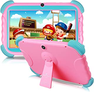 7 inch Kids Tablet Android 8.1 IPS HD Screen 16GB Babypad Edition PC with WiFi and Camera and Games Google Play Store Bluetooth Kids-Proof Case GMS Certified with Charger-Pink