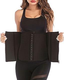 DODOING Kvinnor bantning midja tränare bälte för viktminskning dragkedja midjetrimmer cincher bälte svett fettförbrännare ...