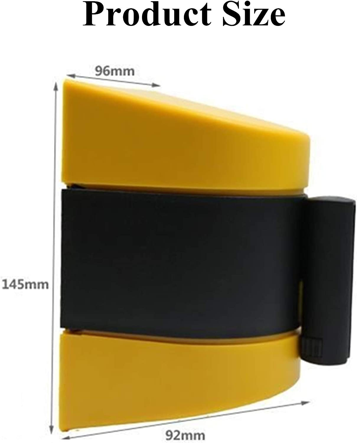 Crowd Control Ribbon Retractable Rope Barrier with ABS Case Fixed Wall Mount Belt Barrier Rope Partition for Guide,Yellow//Black Belt,2m