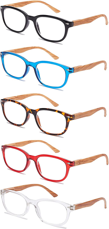 EFE Gafas de Lectura 5-Pack para Hombres Mujeres Gafas Aumento Lectura con Diseño de Vetas de Madera Rectángulo Estilo Ligeros Cómodos Anti Luz Azul para Antifatiga