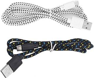 黒と白の軽量最大2.1A出力V8マイクロ2.0 USBフラット麺データ充電器ケーブルfor Android携帯電話(ホワイト)