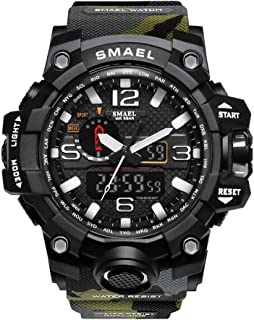 SMAEL Men's Sports Analog Digital Quartz Military Watch Waterproof Multifunctional Large Dial Wrist Watch for Men