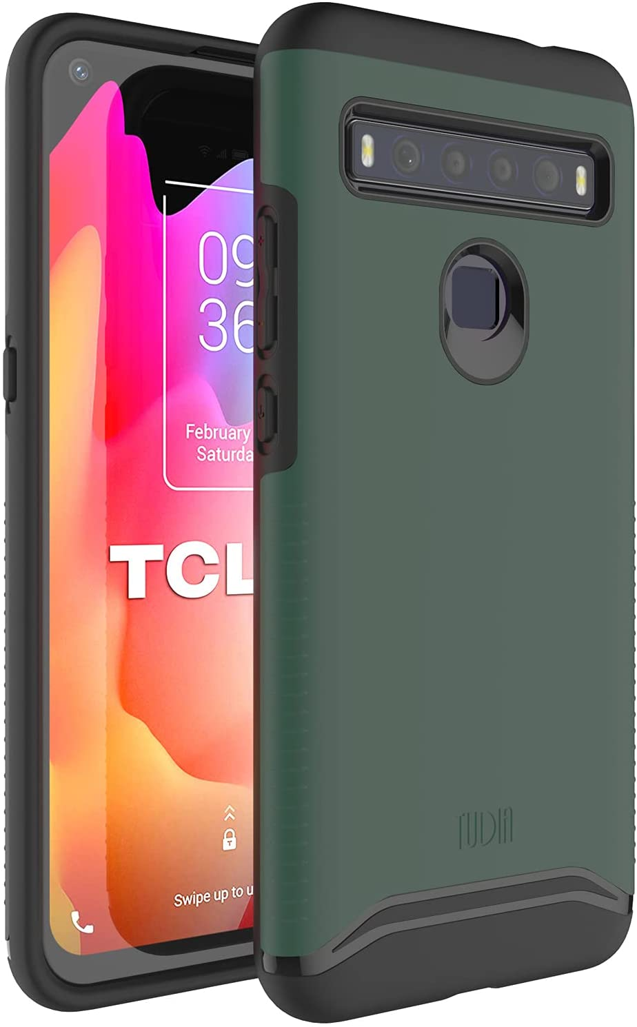TUDIA DualShield Designed for TCL 10L Case, [Merge] Shockproof Military Grade Tough Dual Layer Hard PC Soft TPU Slim Protective Case - Hunter Green