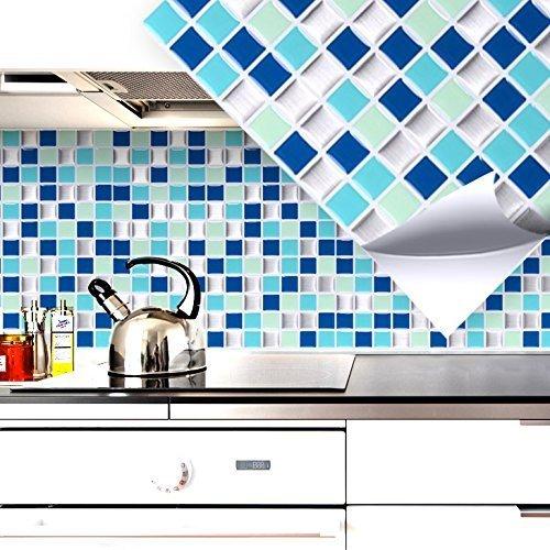 Grandora 4er Set 25,3 x 25,3 cm blau türkis Silber Mosaik I 3D Fliesenaufkleber selbstklebend ablösbar Küche Bad Wandaufkleber Fliesendekor WC Folie W5200