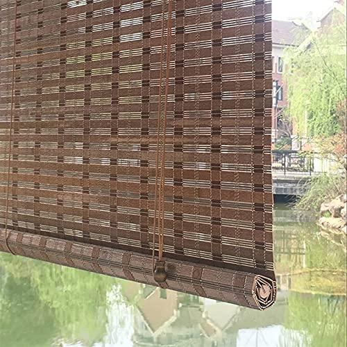 SUBBYE Persianas Enrollables y Estores Exterior Bambú Cortinas Enrollables - Ancho 65cm/85cm/105cm/125cm Protección UV y Resistente al Agua Enrollar La Cortina con Accesorios Personalizable