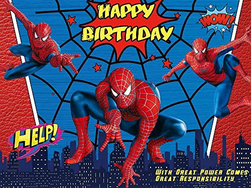 Spiderman Party Supplies Backdrops Super City Boys Baby Shower Birthday Decoration Photography Background Superhero Citycape Kids Studio Booth Props
