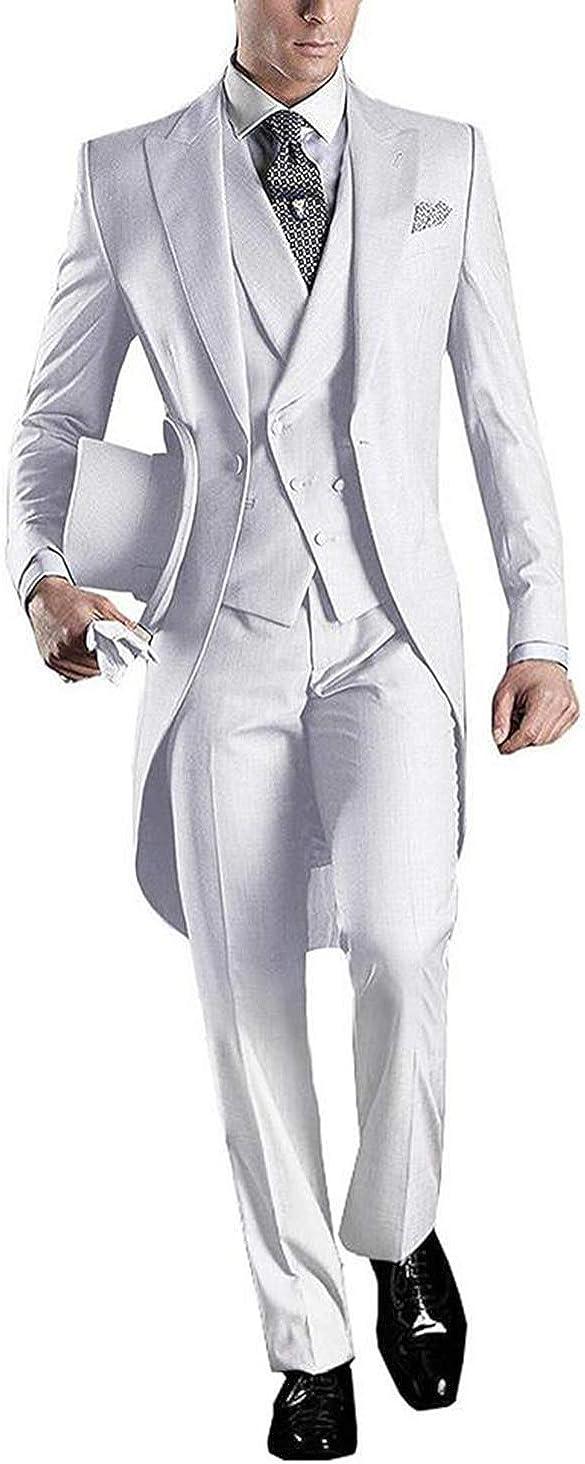 Fashion 3 Pieces Men's Suits Notch Lapel Tailcoat Tuxedos 3pc (Blazer Vest Pants)
