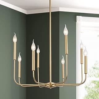 KSANA Gold Modern Chandelier, 8 Lights Candle Chandeliers for Dinning Room, Gold Pendant Lighting for Bedroom, Kitchen, Living Room, Foyer, Entryway