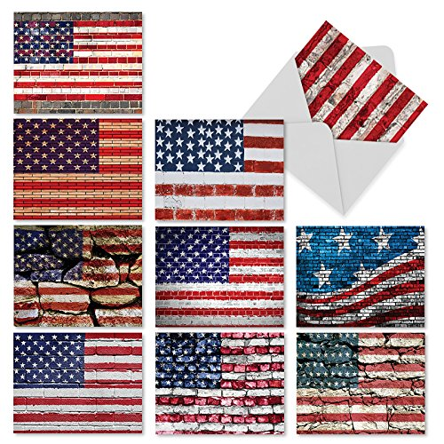 The Best Card Company, Flag Day - 10 American Flag Greeting Cards (4 x 5.12 Inch) - Patriotic Blank Cards for All Occasions, Veterans, USA M2013