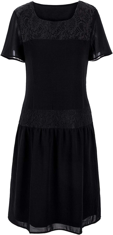 VIJIV 1920s Inspired Flapper Dress High Tea Lace Short Sleeves Drop Waist Dress