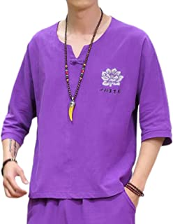 Men's Short Sleeve T-Shirt Frog Button Tops Blouse national style retro linen t-shirt embroidery half-sleeved shirt v-neck...