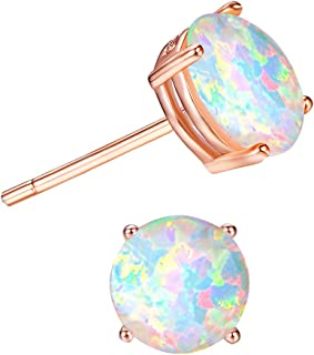 2c7fa9ef5 Junxin 925 Sterling Silver Round Cut Opal Stud Earrings Gift for women and  girls 7.5MM