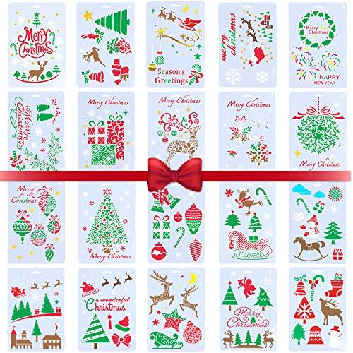 Malschablonen mit Weihnachtsmotiven, Weihnachten Schablone Bullet Journal Set-20 Stück Wiederverwendbar für Journaling, Scrapbooking, Tagebuch, Wanddekoration, DIY Zeichnung Malerei Handwerk