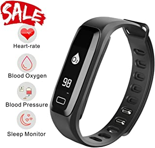 Smart Watch, Fitness Tracker, READ R6.PRO Heart Rate Monitor Blood Pressure Bracelet Pedometer Activity Tracker Sleep Monitoring Call SMS SNS Remind Watch for Android iOS (Black)