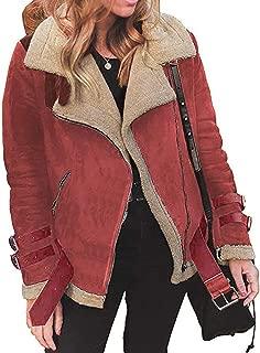 Oberora-Women Winter Warm Zipper Belted Suede Lamb Wool Coat Shearling Jacket