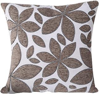 BIGBOBA Funda de cojín de lino con diseño de flores, suave, decorativa, 45 x 45 cm