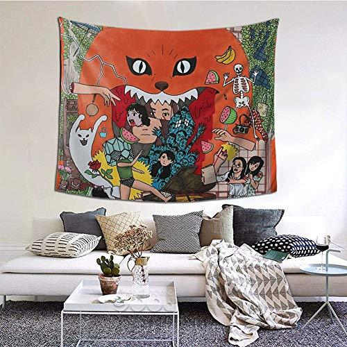 Hdadwy House - Hausu ハ ウ ス Tapiz de Pared Decorativo Dormitorio Sala de Estar Dormitorio Decoración para Fiestas 60x51 in