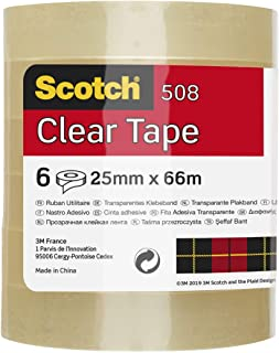 Scotch Algemeen Doel Transparant Office Utility Tape, Helder, 8 Rollen Duidelijke tape 25 mm x 66 m 25 mm x 66 m