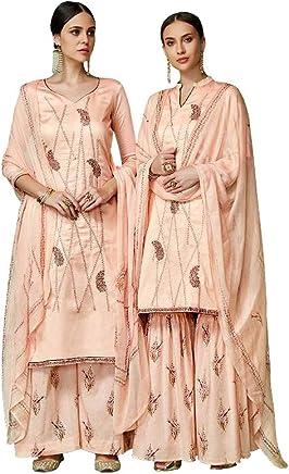 6b0fd09fc2 Like A Diva Gorgeous Peach Printed Pure Cotton Silk Palazzo/Sharara Suit