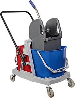Moonlight Double Mop Bucket with Trolly and Wringer - 34 Liters, Multi Color