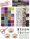 Cuentas de Colores para Hacer Collares Pulseras,3mm 3800pc Cuentas de Colores Mini Cuentas y 6mm 1200pc Abalorios Letras con 24 Colores Kit Bisutería para Regalo DIY 5000 Piezas(Colourful)