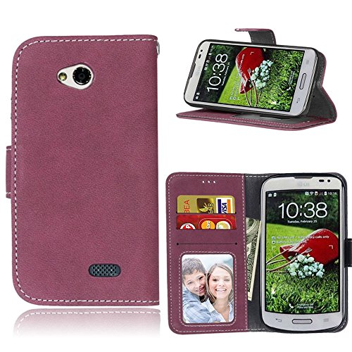 pinlu Funda Para LG L70 Dual Alta Calidad Función de plegado Flip Wallet Case Cover Carcasa Piel Retro Scrub PU Billetera Soporte Con Ranuras Pequeño Rosa roja